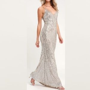 Silver Sequin Maxi Dress - NEW - SIZE: SMALL